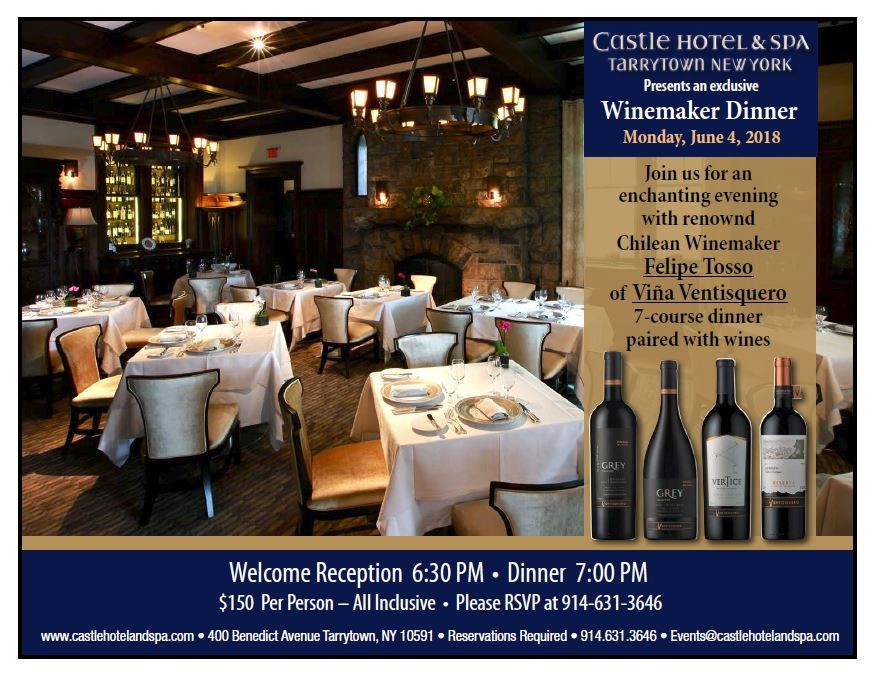 Winemaker Dinner at Castle Hotel and Spa on Monday June 4, 2018