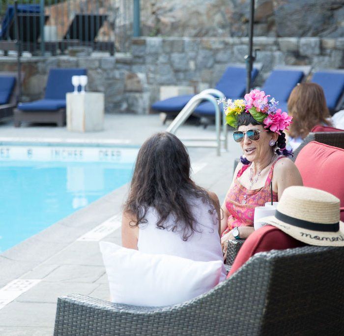 People Talking at Couple at Castle Hotel and Spa